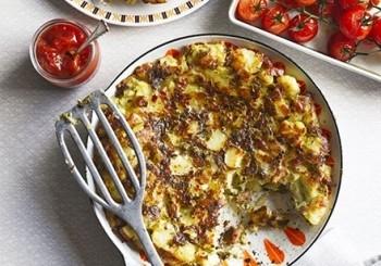 Placinta de cartofi cu branza si pancetta